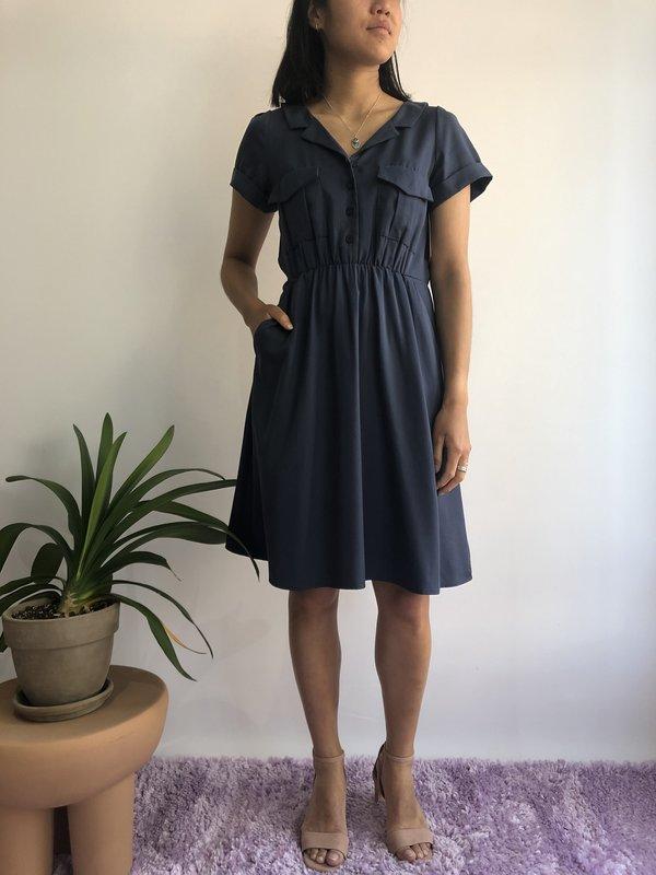 Cherry Bobin Robe Savanna - Twill Bleu Oxford