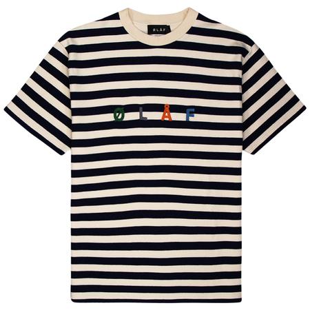 Olaf Hussein Stripe Sans Tee - White/Blue