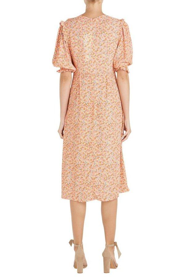 Faithfull The Brand Jean Marie Midi Dress - Mathiola Floral Pink