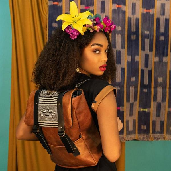 Kazak Cairo Columbia Leather Fabric Backpack