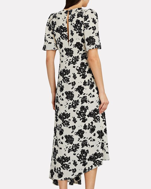 Notes Du Nord Orchid Recycled Asymetric Dress - Noir Flower