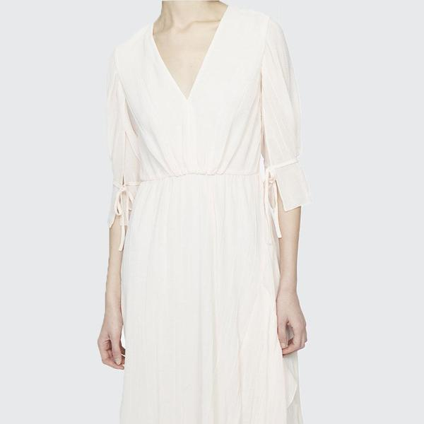 3.1 Phillip Lim Short Sleeve V-Neck Fluid Dress - Light Pink