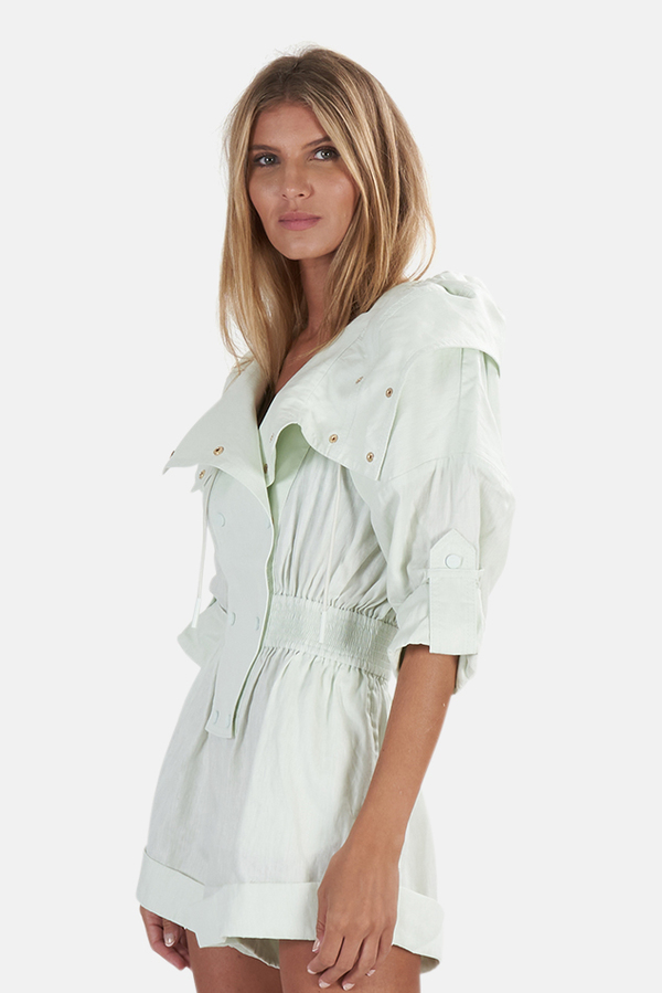 Zimmermann Glassy Rolled Playsuit - Seafoam