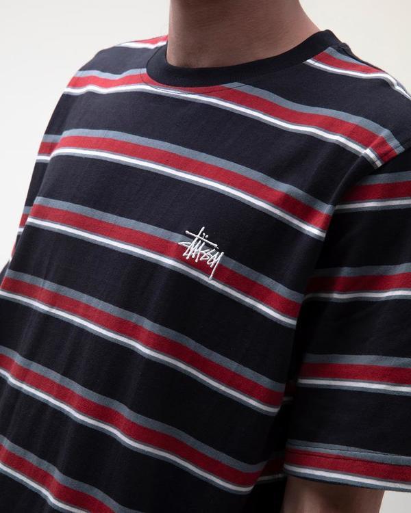 Stussy Harbour Stripe Crew T-Shirt - Black