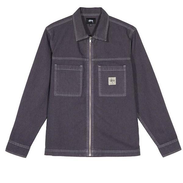 Stussy Overdyed Hickory LS Zip Shirt - Purple