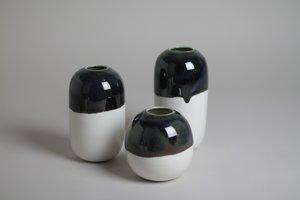 LILITH ROCKETT CERAMICS D Porcelain Bud Vase - Deep Black Green