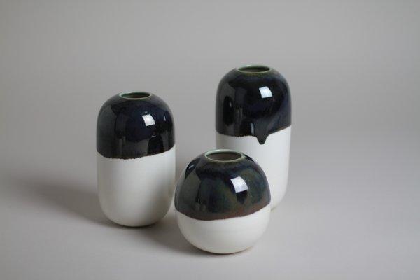 LILITH ROCKETT CERAMICS E Porcelain Bud Vase - Deep Black Green