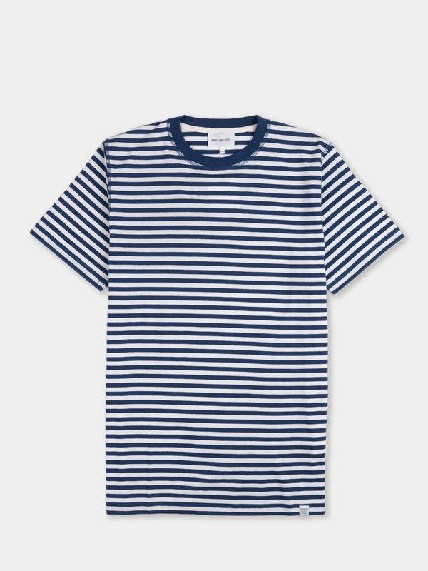 Norse Projects Niels Classic Stripe Short Sleeve - Blue Stripe