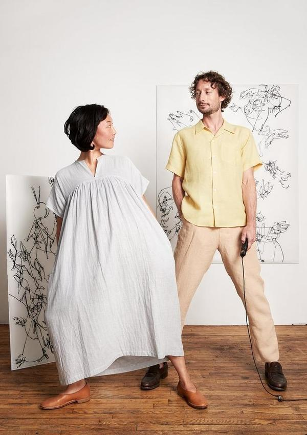 Blluemade Smock Dress - Japanese Gauze Stripe