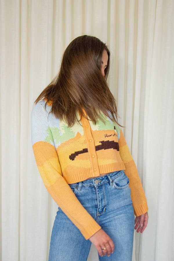 House Of Sunny Daybreaker Knit Cropped Cardigan - Sunset