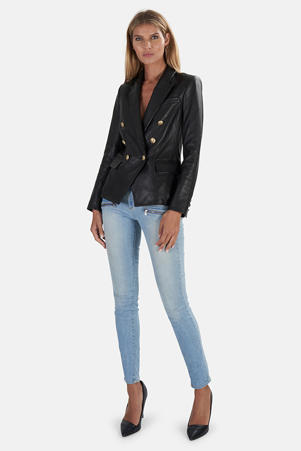 L'Agence Kenzie Double Breasted Leather Blazer - Black