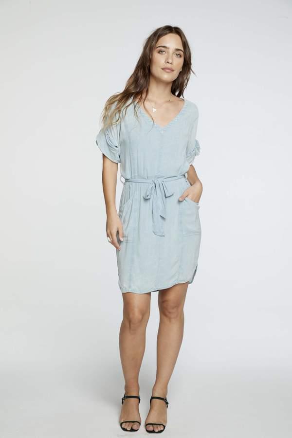 Chaser LA Rolled Sleeve Dress - Powder Blue