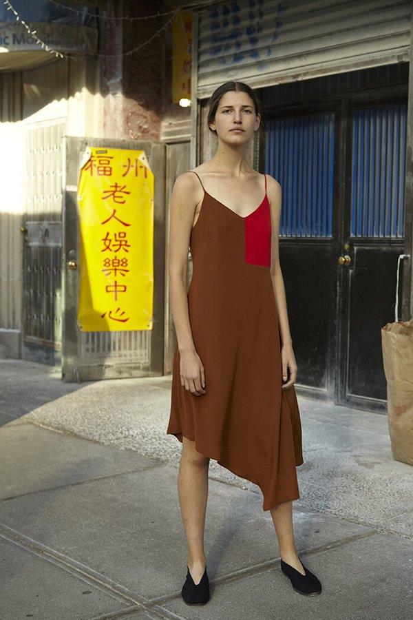 Correll Correll Red Silk Flocco Cami Dress - Cobalt Blue/Golden Brown