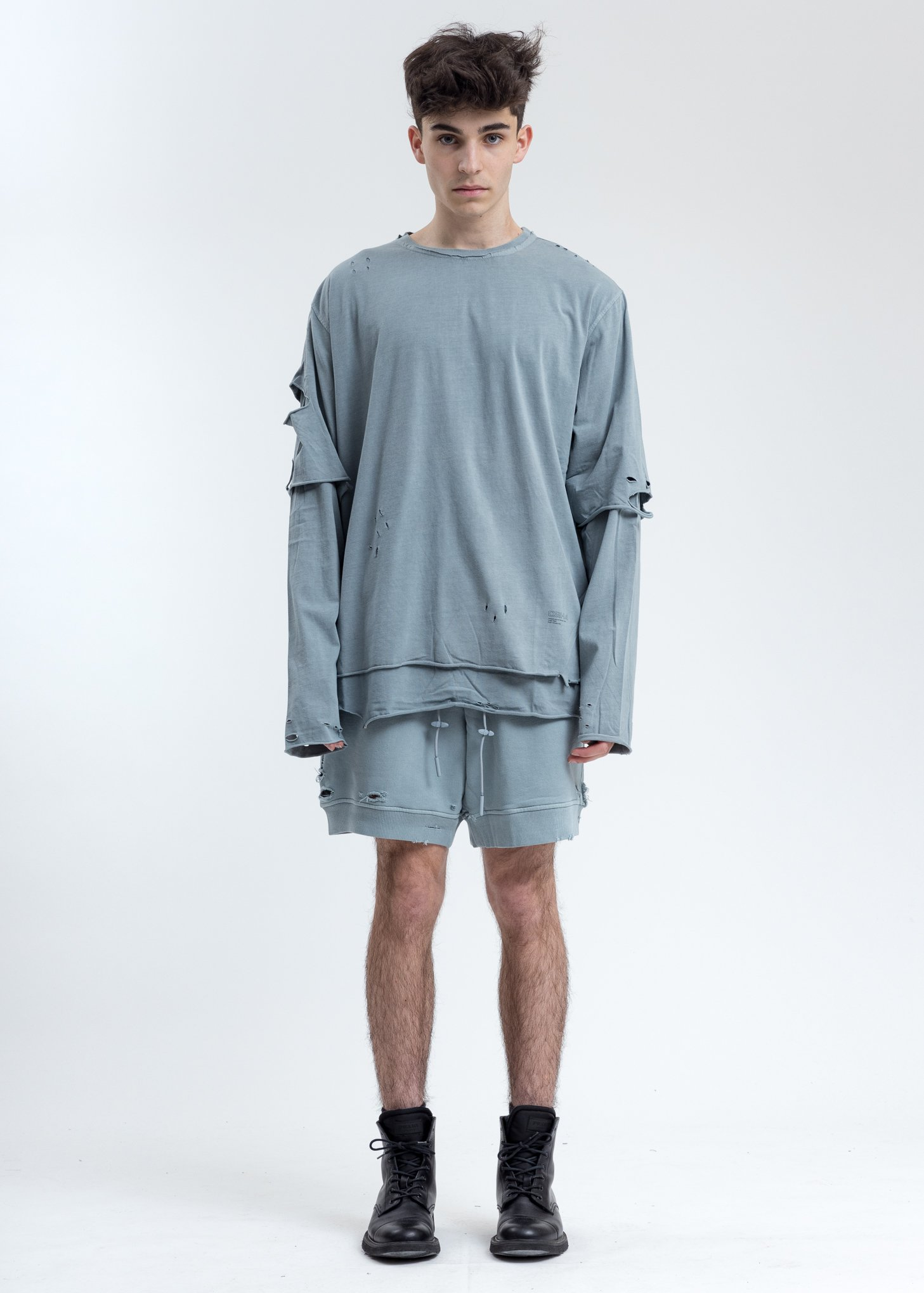 C2h4 Ruin Distressed Sweat Shorts Grey Garmentory