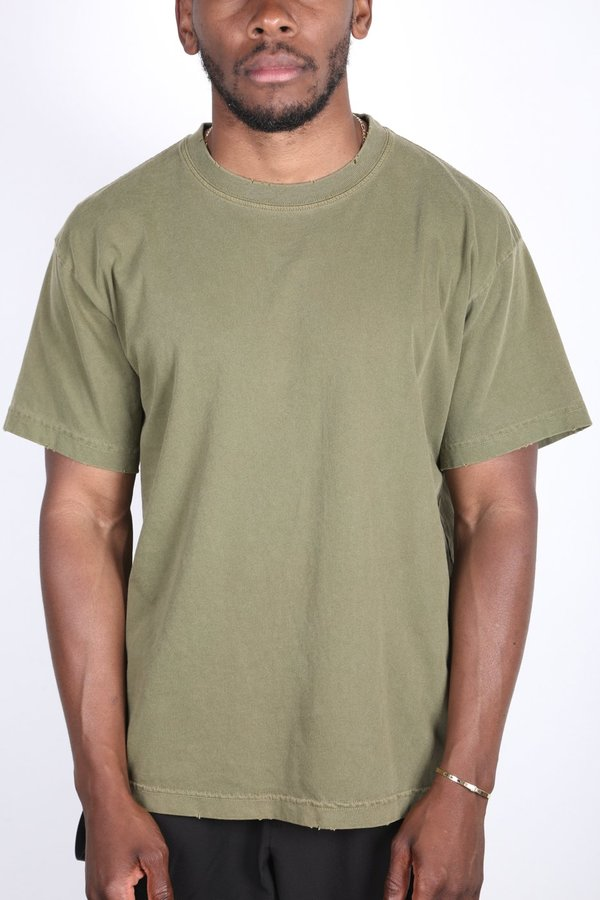machus DISTRESSED LIGHTWEIGHT TEE - AVOCADO