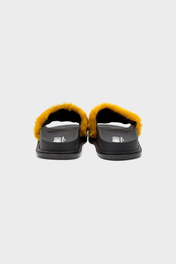 MM6 Maison Margiela Contrast Faux Fur Slide Sandal - Black Brown