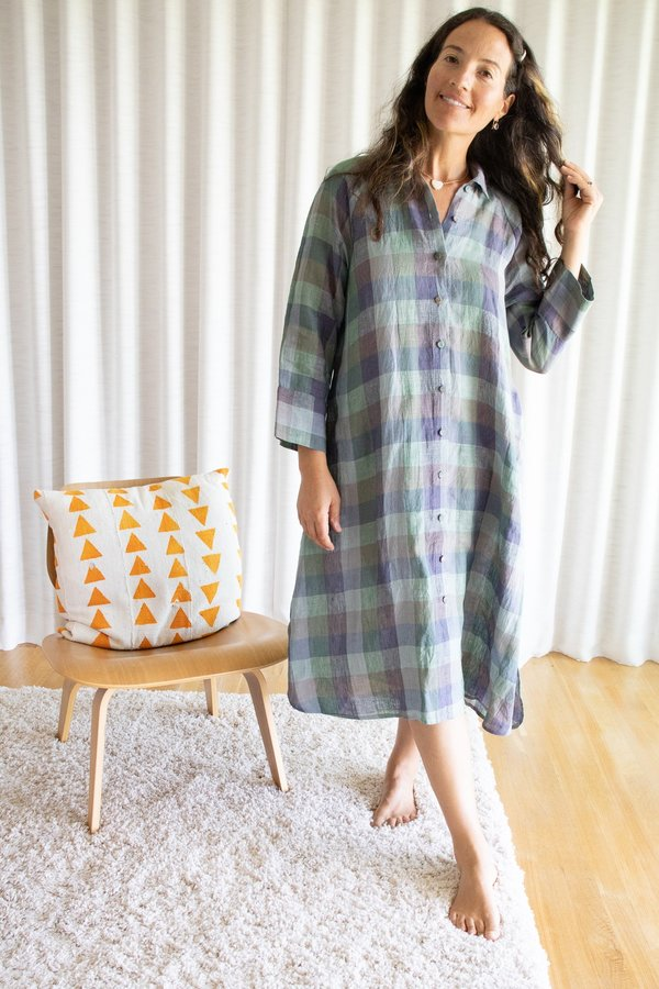 Eka Bougainvilla Dress - Green Multi Colored Checks