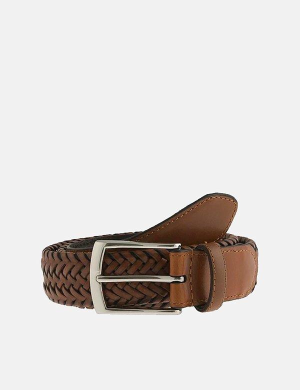 Dents Plaited Leather Belt - Tan