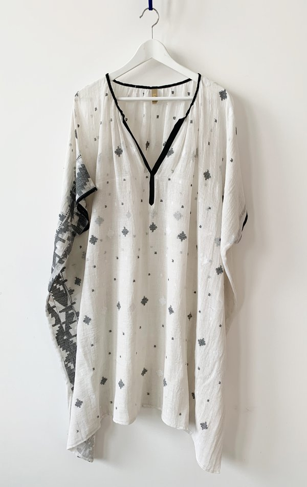 Two Sheer Dhaka with Patterned Details - White/Black