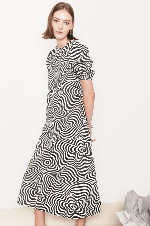 Arc & Bow Trance Dress - Black/White