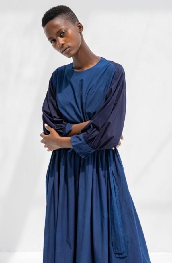 Cosmic Wonder Organic Cotton Monastery Dress - Indigo