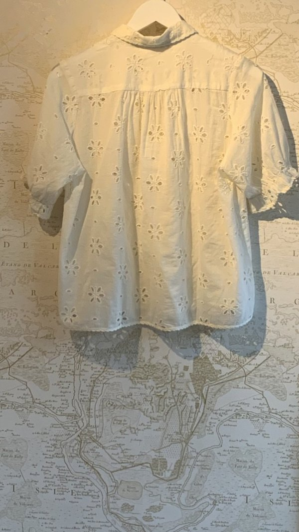 The Great. Eyelet Kerchief Top - White