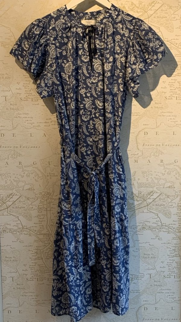 Trovata Emery Short Sleeve Bohemian Dress - Azure Floral