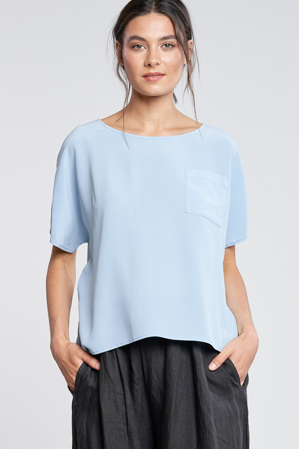 Filosofia Paige Silk Top with Front Pocket - Opal Blue