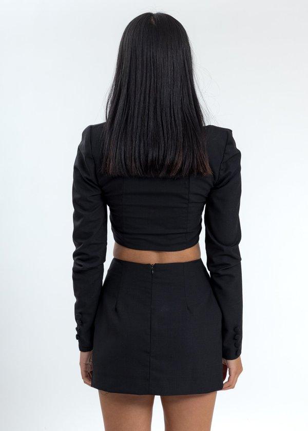 Danielle Guizio Button-Up Wool Top - Black