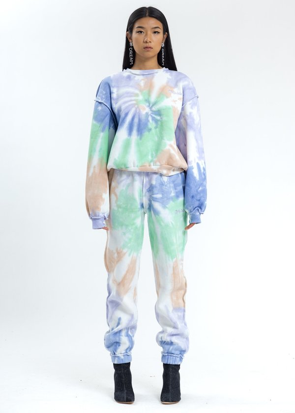 Danielle Guizio Tie Dye Floral Logo Sweatpants
