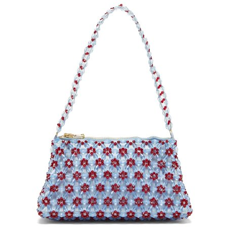 Shrimps Dawson Beaded Bag - Blue/Ruby Red