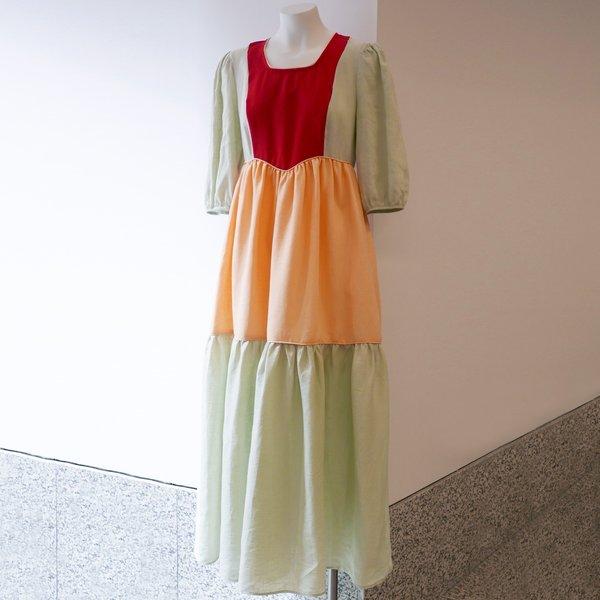BATSHEVA 3/4 Length Sleeve Empire Dress