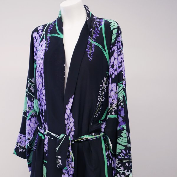 BERNADETTE Peignoir Silk Crepe de Chine Wisteria Dress - Black