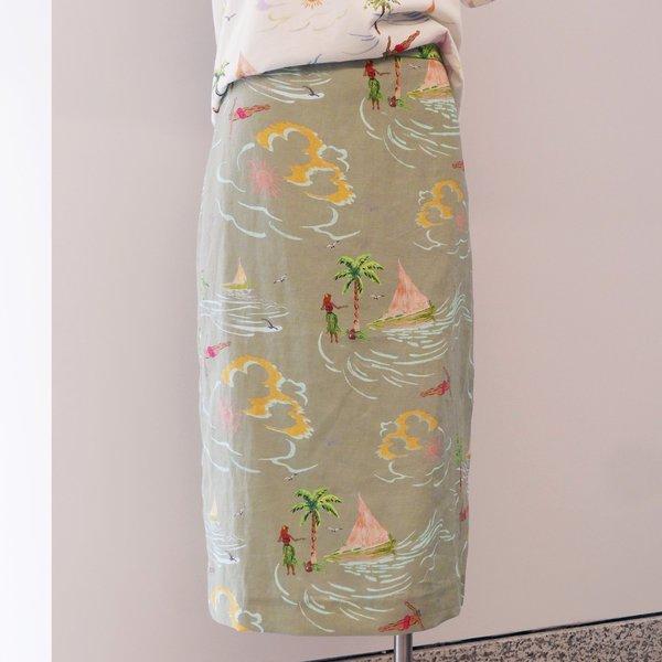 REJINA PYO Blair Linen Printed Skirt - Khaki