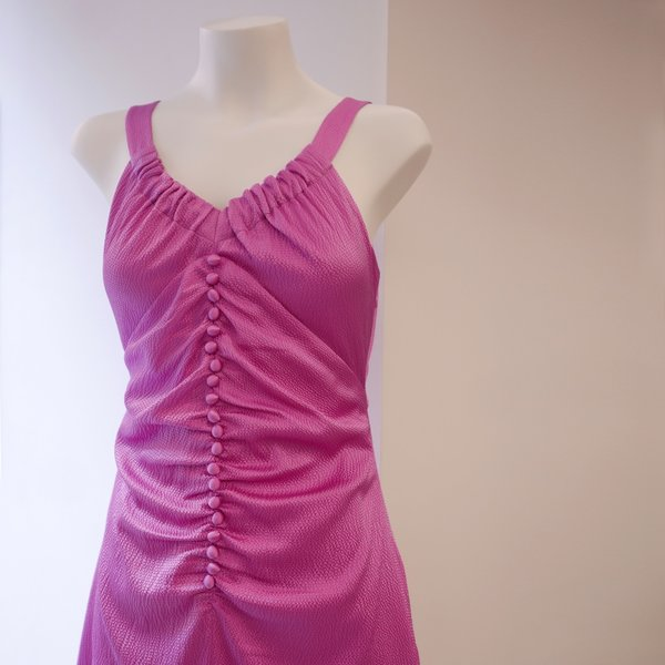 Rejina Pyo Hammered Silk Dress - Cool Pink
