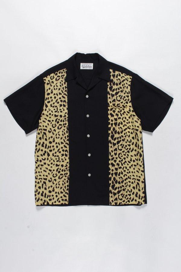 WACKO MARIA Leopard Two Tone Open Collar Shirt - Black/Beige