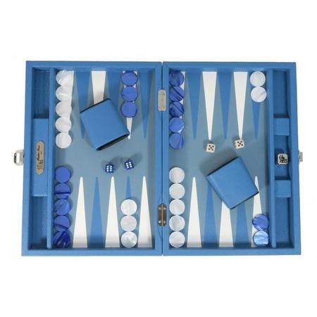 Hector Saxe Paris Baptiste Medium Buffalo Leather Backgammon - Light Blue