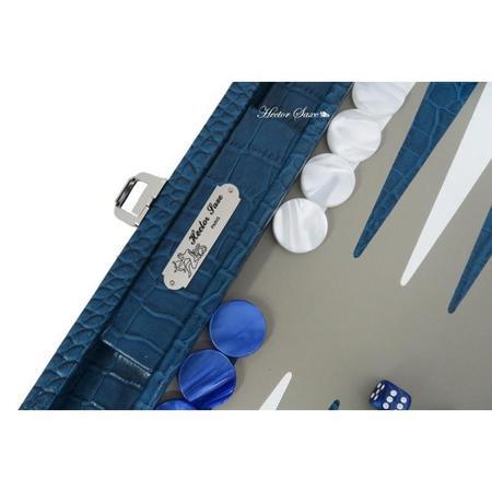 Hector Saxe Paris Charles Medium Croc-effect Leather Backgammon - Bleu