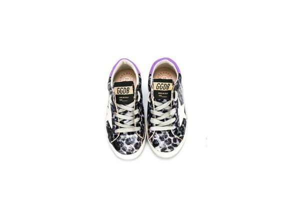 Kids Golden Goose Superstar Sneakers - Leopard Printed Black/White