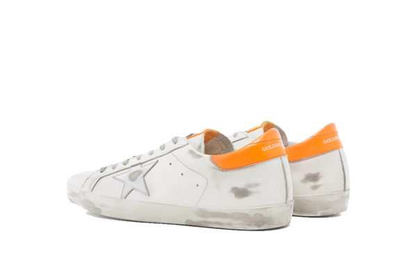 Golden Goose Superstar Sneaker - Metallic Silver/Orange Fluo