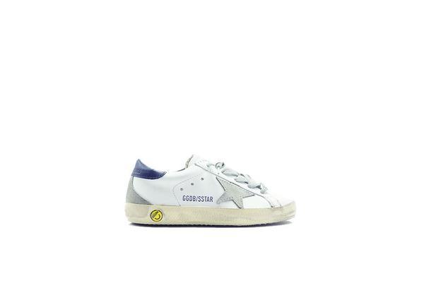 Kids Golden Goose Superstar Sneaker - White/Dark Blue Cream Sole