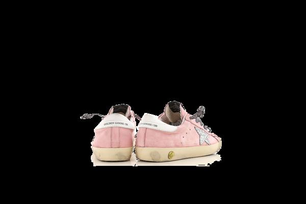 Kids Golden Goose Superstar Sneakers - Pink Nabuk/Glitter Star