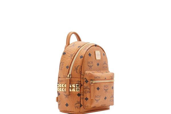 MCM Stark Bebe Boo Backpack - Visetos Cognac