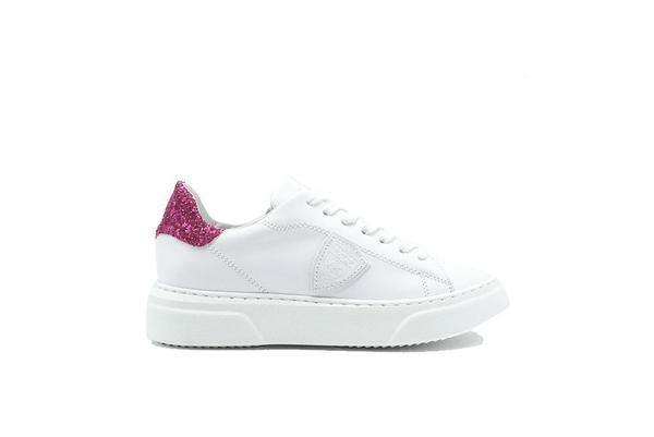 Philippe Model Temple Glitter Sneaker - White/Fucsia