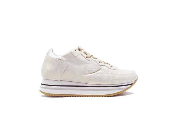 Philippe Model Tropez Metallic Suede Sneaker - Platinum