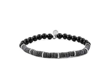 Tateossian Silver Onyx/Grey Shell Bracelet