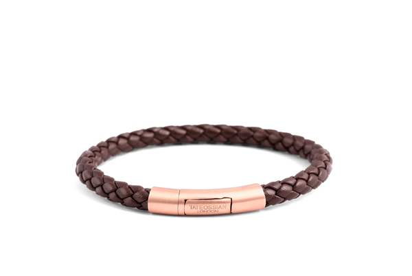 Tateossian Rose Gold Plated Satin Finish Bracelet - Brown Ziggy