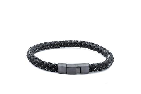 Tateossian Silver Black Rhodium Leather Bracelet - Black/Grey