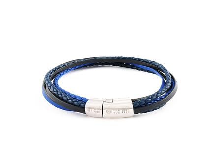 Tateossian Silver Mixed Round & Flat Leather Bracelet - Multi Blue Cobra
