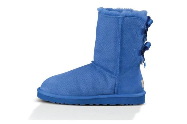 UGG Classic Bailey Bow Exotic Scales Boot - Marine Blue